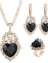 cheap -Women's Crystal Drop Earrings Pendant Necklace Bridal Jewelry Sets Heart Classic Sweet Elegant Rhinestone Earrings Jewelry Black / White / Purple For Wedding Ceremony Festival 4pcs / pack / Open Ring