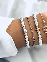 cheap -4pcs Women's Bead Bracelet Vintage Bracelet Earrings / Bracelet Simple Classic Vintage Casual / Sporty Fashion Glass Bracelet Jewelry Gold For Daily School Street Going out Festival