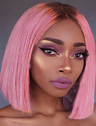 cheap -Unprocessed Human Hair Lace Front Wig Bob Deep Parting Beyonce style Brazilian Hair Silky Straight Pink Wig 150% Density with Baby Hair with Clip With Bleached Knots Women's Short Human Hair Lace Wig