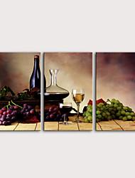 Недорогие -С картинкой Роликовые холсты Отпечатки на холсте - Продукты питания Еда и напитки Modern 3 панели Репродукции