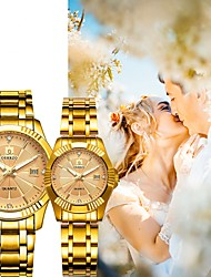 cheap -Couple's Dress Watch Quartz Matching His And Her Stainless Steel Gold 30 m Water Resistant / Waterproof Calendar / date / day New Design Analog Vintage Fashion - White Black Rose Gold