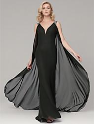 cheap -Sheath / Column V Neck Sweep / Brush Train Chiffon Chic & Modern Formal Evening Dress with Sash / Ribbon 2020