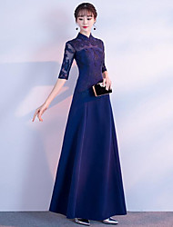 cheap -A-Line Jewel Neck Maxi Chiffon / Lace Bridesmaid Dress with Embroidery