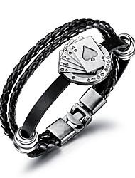 Недорогие -Муж. Кожаные браслеты Loom браслет Плетение Покер модный Мода Шнур Браслет Ювелирные изделия Черный Назначение Повседневные Офис