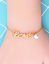 cheap -Women's Chain Bracelet Handwriting Bracelet Letter Korean Fashion Cute Imitation Pearl Bracelet Jewelry Gold / Silver For Date Office & Career