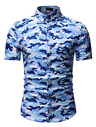 cheap -Men's Daily Active / Basic Cotton Shirt - Camo / Camouflage Classic Collar Blue / Short Sleeve / Summer