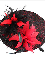 cheap -Women's Ladies Tiaras Fascinators For Wedding Party / Evening Prom Princess Feather Fabric Red