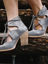cheap -Women's PU(Polyurethane) Spring &  Fall / Spring & Summer British / Minimalism Heels Chunky Heel Round Toe Black / Gray / Brown