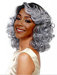 cheap -Synthetic Wig Body Wave Bob Wig Ombre Short Black / White Synthetic Hair 14INCH Women's Odor Free Adjustable Heat Resistant Ombre
