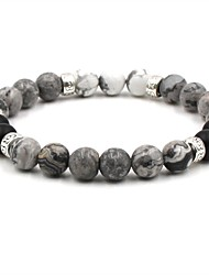 cheap -Men's Women's Brown White Natural Stone Bead Bracelet Beaded Cathedral Ball Hip-Hop Stone Bracelet Jewelry White / Brown For Wedding Ceremony