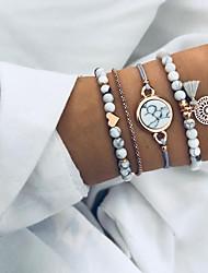 cheap -Women's Bead Bracelet Bracelet Layered Heart Tassel European Ethnic Cord Bracelet Jewelry Gray For Daily / Resin