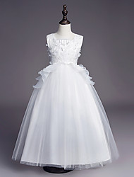 cheap -Princess Long Length Wedding / First Communion Flower Girl Dresses - Satin / Tulle Sleeveless Jewel Neck with Belt / Beading / Embroidery