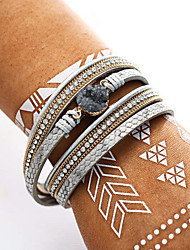 cheap -Women's Cubic Zirconia Leather Bracelet Double Layered Casual / Sporty Fashion Leather Bracelet Jewelry White For Going out Office & Career / Rhinestone