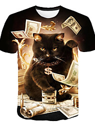 cheap -Men's Daily Club Basic / Street chic T-shirt - Animal Cat, Print Round Neck Black / Short Sleeve