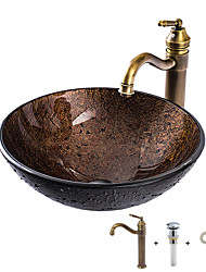 cheap -Bathroom Sink  Faucet Suit with Brass Mounting Ring Antique - Tempered Glass Round Vessel Sink and Zinc Alloy Faucet