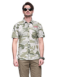 cheap -Men's Camo Hiking Tee shirt Short Sleeve Outdoor Breathable Quick Dry Sweat-wicking Comfortable Tee / T-shirt Top Autumn / Fall Spring Cotton Army Green Camping / Hiking / Caving Traveling