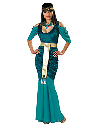 cheap -Cleopatra Dress Cosplay Costume Adults' Women's Dresses Ancient Egypt Halloween Carnival Masquerade Festival / Holiday Polyster Green Carnival Costumes Solid Colored