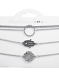 cheap -Women's Bead Bracelet Pendant Bracelet Layered Flower Classic Trendy Casual / Sporty Fashion Alloy Bracelet Jewelry Silver For Street Holiday Work Birthday
