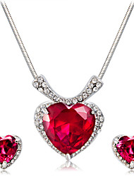 cheap -Women's Red Crystal Pendant Necklace Earrings Heart Artistic Classic Fashion Silver Plated Imitation Diamond Earrings Jewelry Red For Party Ceremony Formal 3pcs