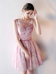 cheap -A-Line Off Shoulder Short Length Tulle Bridesmaid Dress with Bandage