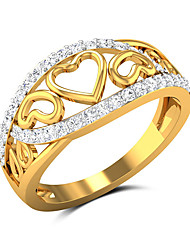 cheap -Women's Band Ring Cubic Zirconia 1pc Yellow Copper Gold Plated Stylish Luxury European Party Gift Jewelry Hollow Out Heart Hollow Heart Cute