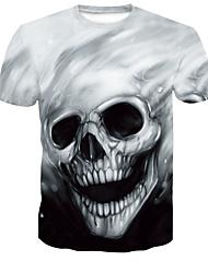cheap -Men's Plus Size T-shirt Graphic Skull Tops Round Neck Black