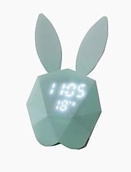 Недорогие -перезаряжаемые многофункциональный термометр настенные часы светильники кролик цифровой будильник светодиодный голосовой новинка ночник