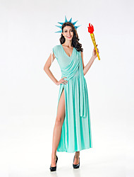 cheap -Goddess Dress Cosplay Costume Adults' Women's Dresses Halloween Halloween Carnival Masquerade Festival / Holiday Silk / Cotton Blend Green Carnival Costumes Solid Colored