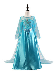 cheap -Princess Floor Length / Long Length Party / Birthday / Pageant Flower Girl Dresses - Chiffon / Tulle 3/4 Length Sleeve Jewel Neck with Crystals / Splicing / Crystals / Rhinestones