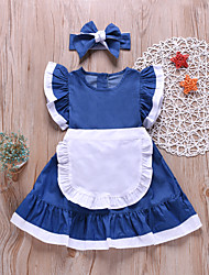 cheap -Kids Toddler Girls' Active Cute Blue Solid Colored Sleeveless Above Knee Dress Blue