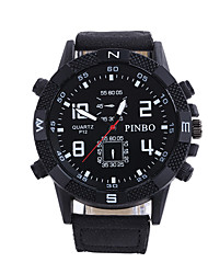 cheap -Men's Dress Watch Quartz Leather Black Casual Watch Analog Classic Fashion - Fuchsia Coffee Brown