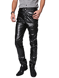 """Недорогие -Костюмы на все тело """"зентай"""" Кожаный костюм Мотоцикл Мужчины Взрослые Латекс Косплэй костюмы Штаны Муж. Черный Однотонный Хэллоуин Карнавал Маскарад / Брюки / Брюки"""