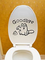 cheap -Toilet Stickers - Plane Wall Stickers Animals Living Room / Bedroom / Bathroom / Re-Positionable 14*17.5cm
