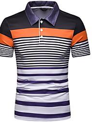 cheap -Men's Polo - Striped Shirt Collar Blue