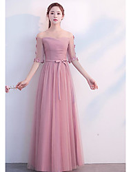 cheap -Sheath / Column Scoop Neck Long Length Tulle Bridesmaid Dress with Pleats