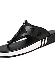 cheap -Men's Comfort Shoes PU Spring Casual Slippers & Flip-Flops Non-slipping Color Block Black / White