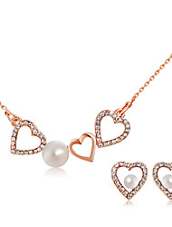 cheap -Women's White Pearl Pendant Necklace Earrings Hollow Out Heart Stylish Artistic Unique Design Imitation Pearl Rose Gold Plated Imitation Diamond Earrings Jewelry Champagne For Engagement Formal