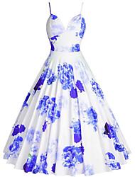 cheap -Women's Plus Size A Line Dress - Sleeveless Floral Print Strap 1950s Going out Blue Purple Red S M L XL XXL XXXL XXXXXL