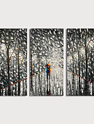 cheap -Oil Painting Hand Painted Landscape Modern Stretched Canvas / Three Panels With Stretched Frame