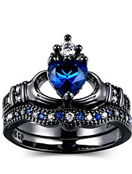 cheap -Women's Ring Set 2pcs Blue Alloy Trendy Wedding Party Jewelry Two tone Heart Heart