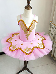 cheap -Kids' Dancewear / Ballet Outfits / Tutus & Skirts Girls' Training / Performance Polyester / Mesh Beading / Embroidery / Split Joint Sleeveless Dress / Bracelets