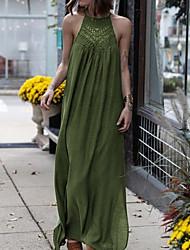 cheap -Women's Maxi Red Green Dress Holiday Beach Tunic Abaya Halter Neck Lace Chiffon S M
