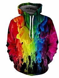 cheap -Men's Plus Size Hoodie Rainbow Hooded Casual Rainbow M L XL XXL XXXL XXXXL XXXXXL