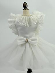 Недорогие -Свадьба Кружево / органза Одежда для собак Собака свадебное платье юбка - 1 pcs