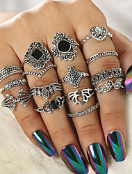 cheap -Women Ring Set Gemstone Vintage Style Silver Chrome Flower Elegant Vintage Ethnic 15pcs 7 / Women's