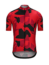 cheap -Men's Short Sleeve Cycling Jersey Black / Red Camo / Camouflage Bike Jersey Top Sports Terylene Clothing Apparel / High Elasticity