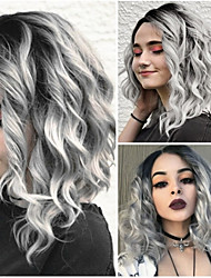 cheap -Synthetic Wig Loose Curl Middle Part Wig Long Grey Synthetic Hair 10 inch Women's Women Gray