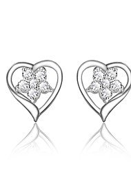 cheap -Women's Clear Cubic Zirconia Earrings Geometrical Heart Trendy Fashion Cute Elegant Silver Plated Earrings Jewelry Silver For Birthday Engagement Gift Daily Date 1 Pair