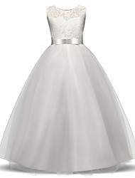 cheap -Princess Long Length Wedding / First Communion Flower Girl Dresses - Lace / Tulle Sleeveless Jewel Neck with Lace / Bow(s) / Embroidery