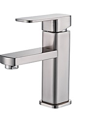 cheap -Bathroom Sink Faucet - Widespread Nickel Brushed Deck Mounted Single Handle One HoleBath Taps